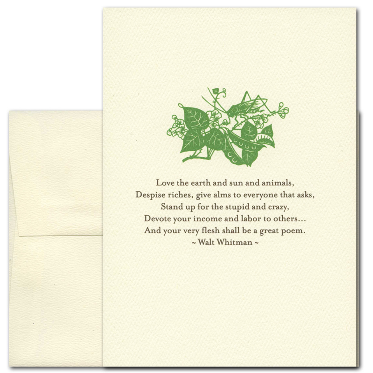 "Quotation Cards ""Great Poem: Whitman"" Cover shows a green vintage style drawing of a cricket on a plant with a quote by Walt Whitman that reads: ""Love the earth and sun and animals, despise riches, give alms to everyone that asks, stand up for the stupid and crazy, devote your income and labor to others. . . and your very flesh shall be a great poem."""