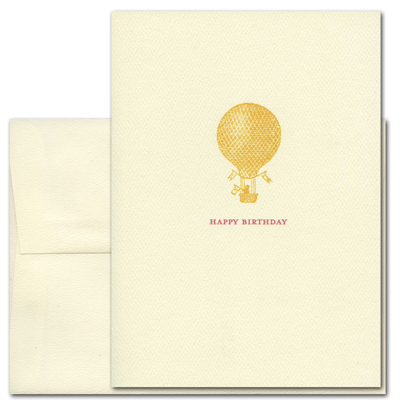 "Boxed Classic Business Birthday Card Golden Balloon Cover with illustration of gold hot air balloon and the words ""Happy Birthday"" in red lettering"
