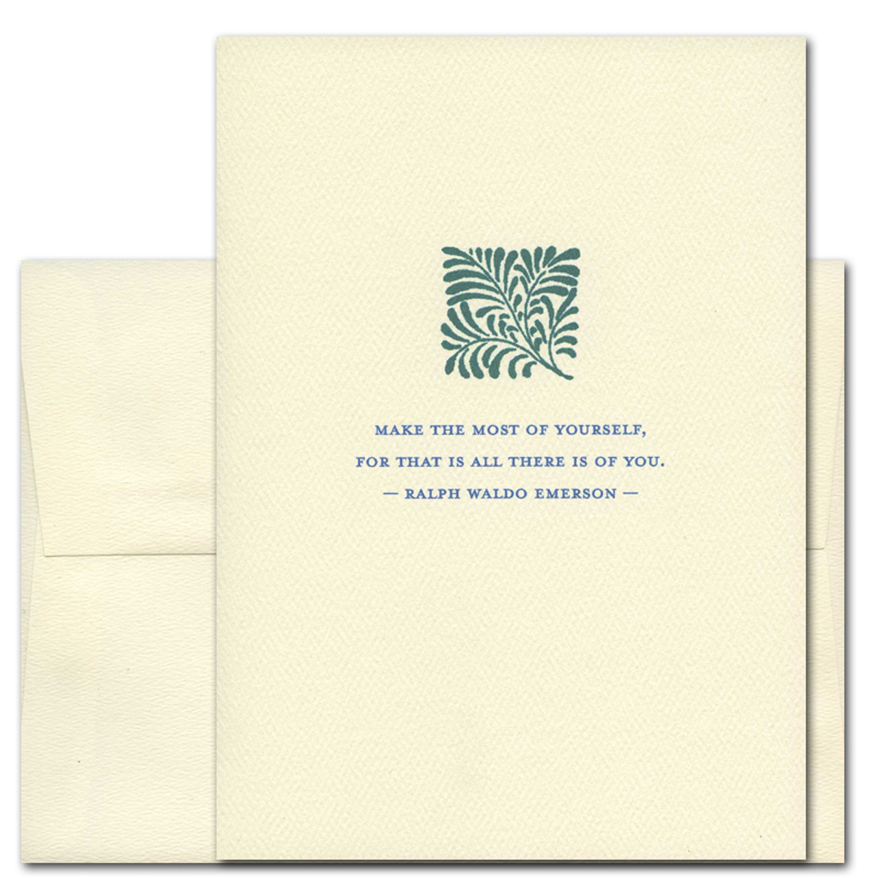"""Quotation Card """"Make the Most: Emerson"""" Cover shows a vintage illustration of a branch with a quote by Ralph Waldo Emerson that reads: """"Make the most of yourself, for that is all there is of you."""""""