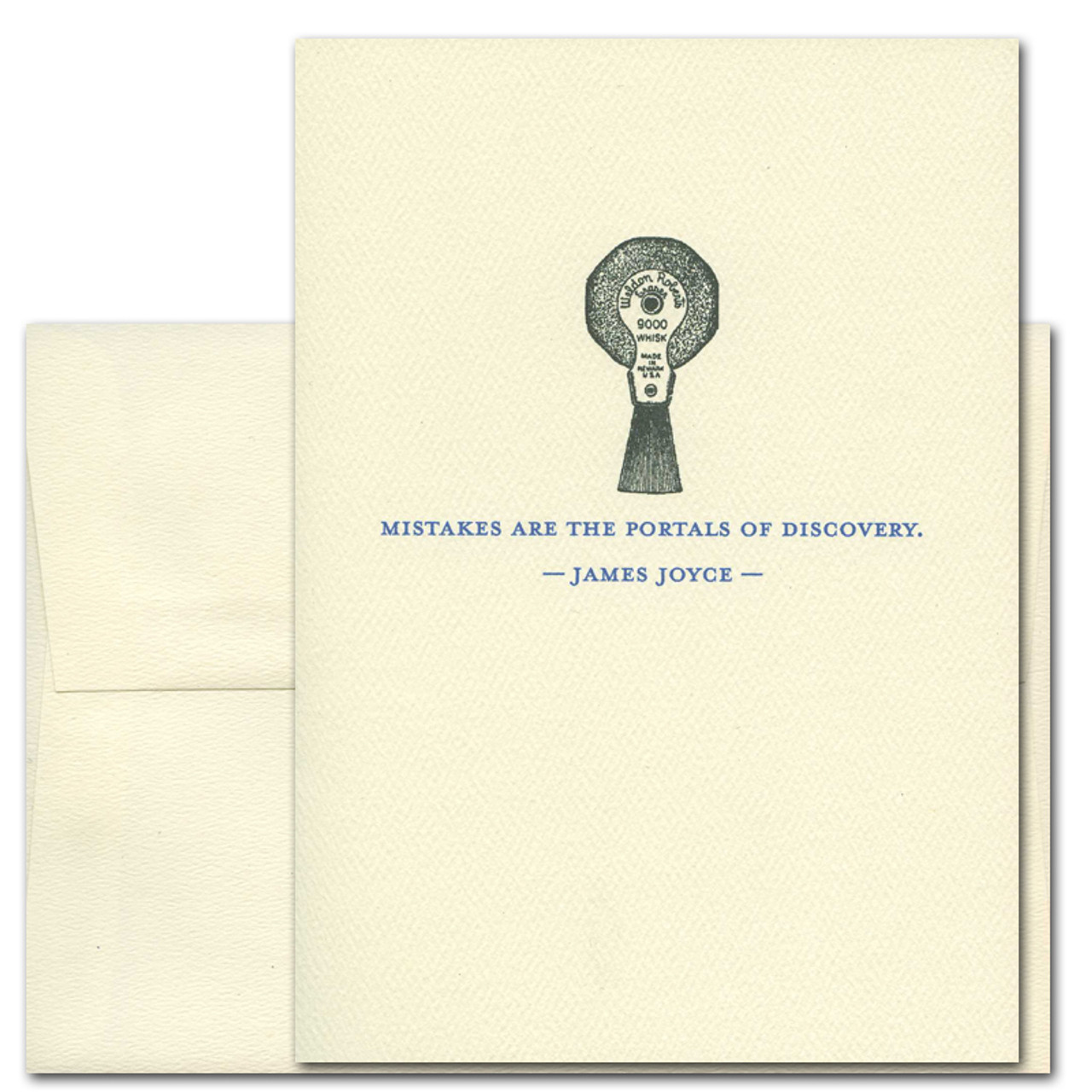 """Quotation Card """" Mistakes: Joyce"""" Cover shows old fashioned typewriter eraser with a quote by James Joyce that reads: """"Mistakes are the portals of discovery"""""""