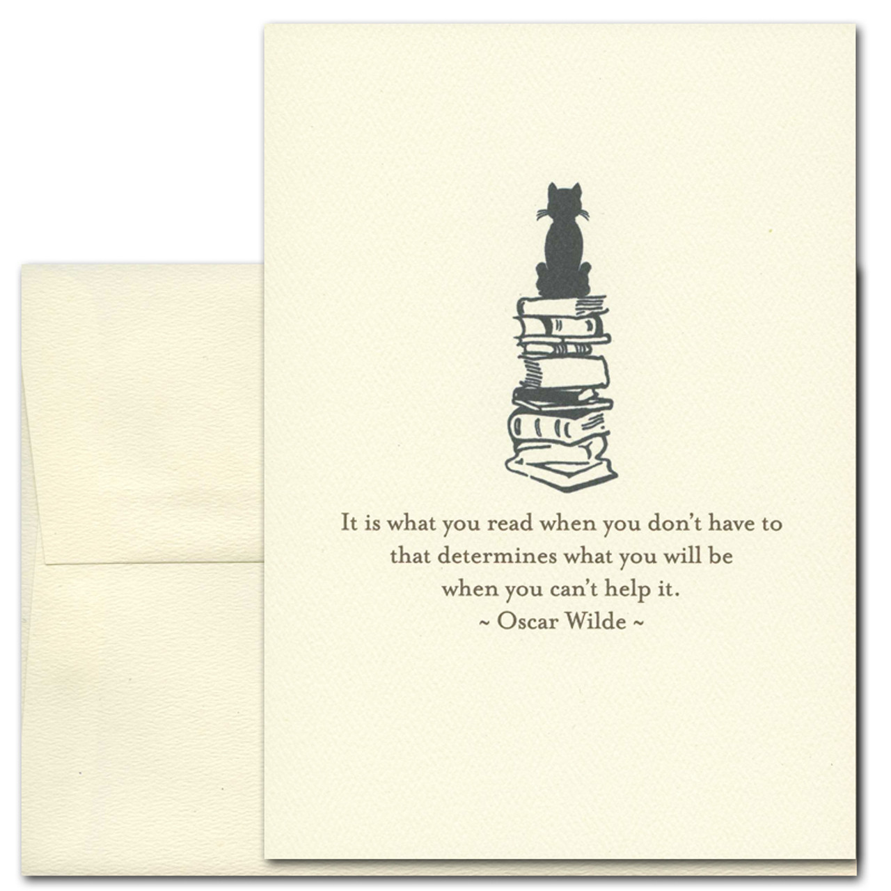 "Quotation Card ""What You Read: Wilde"" Cover shows a vintage style drawing of a cat sitting atop a pile of books with a quote by Oscar Wilde that reads: ""It is what you read when you don't have to that determines what you will be when you can't help it."""