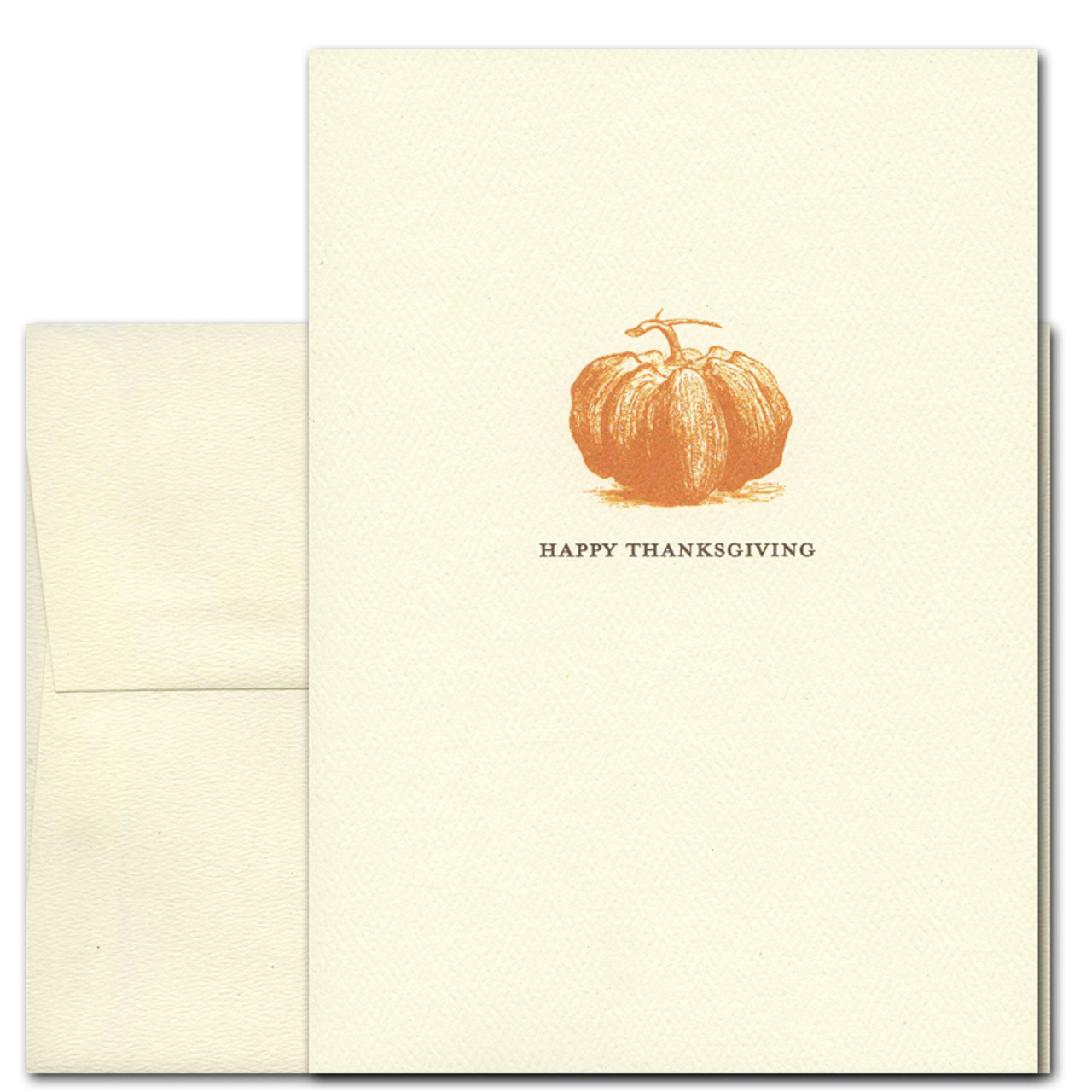 """Thanksgiving - Heirloom Pumpkin cover shows a deep orange illustration of an heirloom pumping variety and the words """"Happy Thanksgiving"""""""