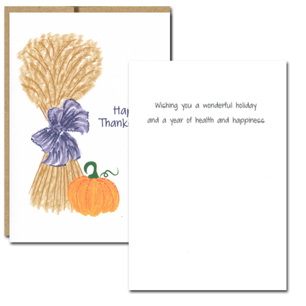 "Harvest Thanksgiving Card - inside greeting reads, ""Wishing you a wonderful holiday and a year of health and happiness."""