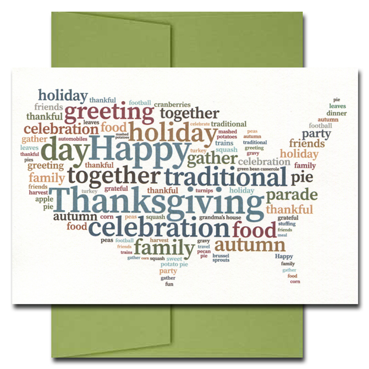 Cover of Across the Country card shows a map of the USA decorated with traditional words for Thanksgiving celebrations.