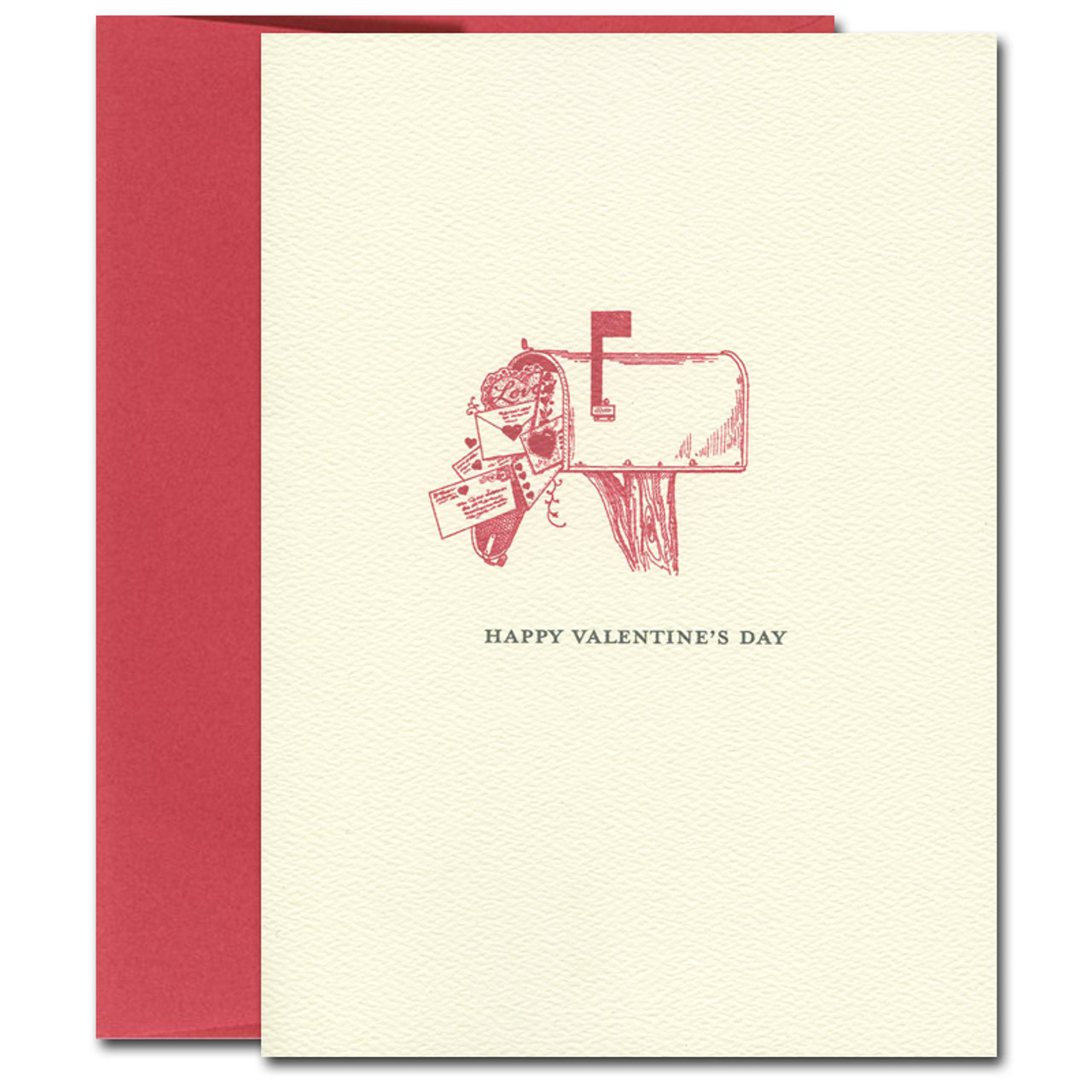 "Valentine Card  Mailbox has illustration of a mailbox on a post with envelopes overflowing out with the words ""Happy Valentines Day"""