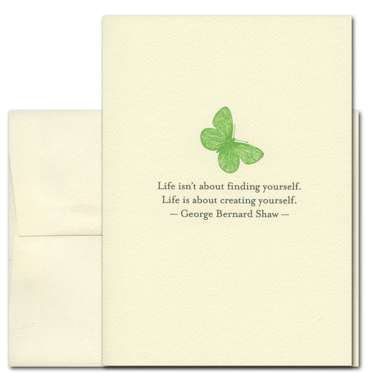 "Quotation Card ""Creating Yourself: Shaw"" Cover shows green vintage illustration of a butterfly with a quote from George Bernard Shaw reading ""Life isn't about finding yourself. Life is about creating yourself."""