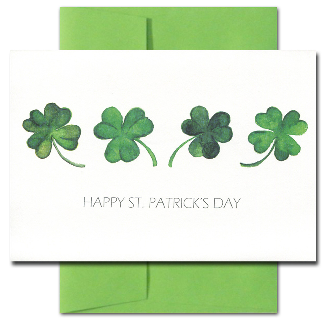 Cover of Saint Patrick's Day card featuring hand-painted shamrocks