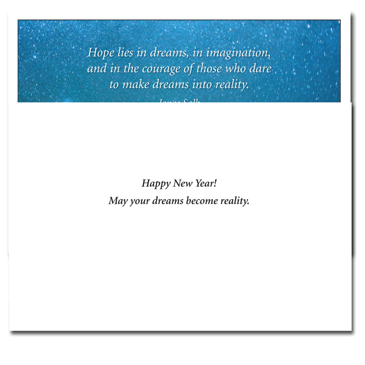 Inside of Beacon New Year Card reads: Happy New Year! May your dreams become reality.