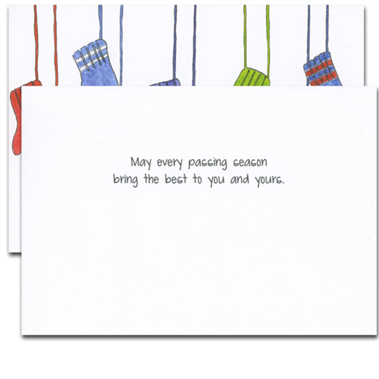 "Mittens Holiday Card - inside greeting reads, ""May every passing season bring the best to you and yours."""