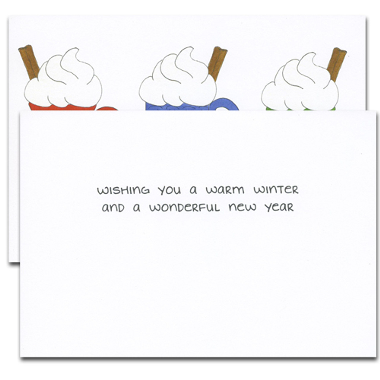 """Cheers Business New Year  Holiday Greetings Card inside greeting reads, """"Wishing you a warm winter and a wonderful new year"""""""