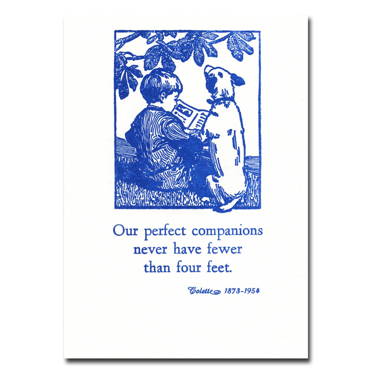 """Saturn Press Quotation Card """"Perfect Companions: Colette"""" Cover shows vintage illustration of a boy reading to his dog with a quotation by Colette: """"Our perfect companions never have fewer than four feet."""""""