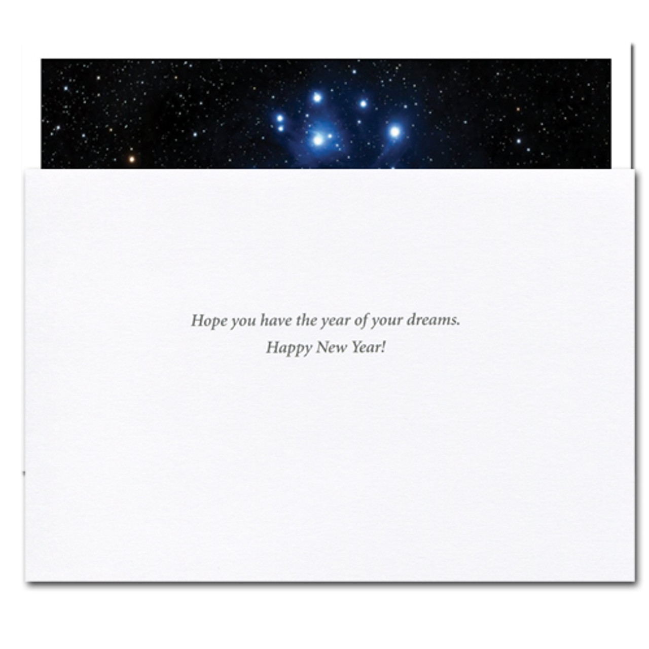 """Inside of Business New Year Card """"Sight of Stars"""" reads, """"Hope you have the year of your dreams.  Happy New Year!"""""""