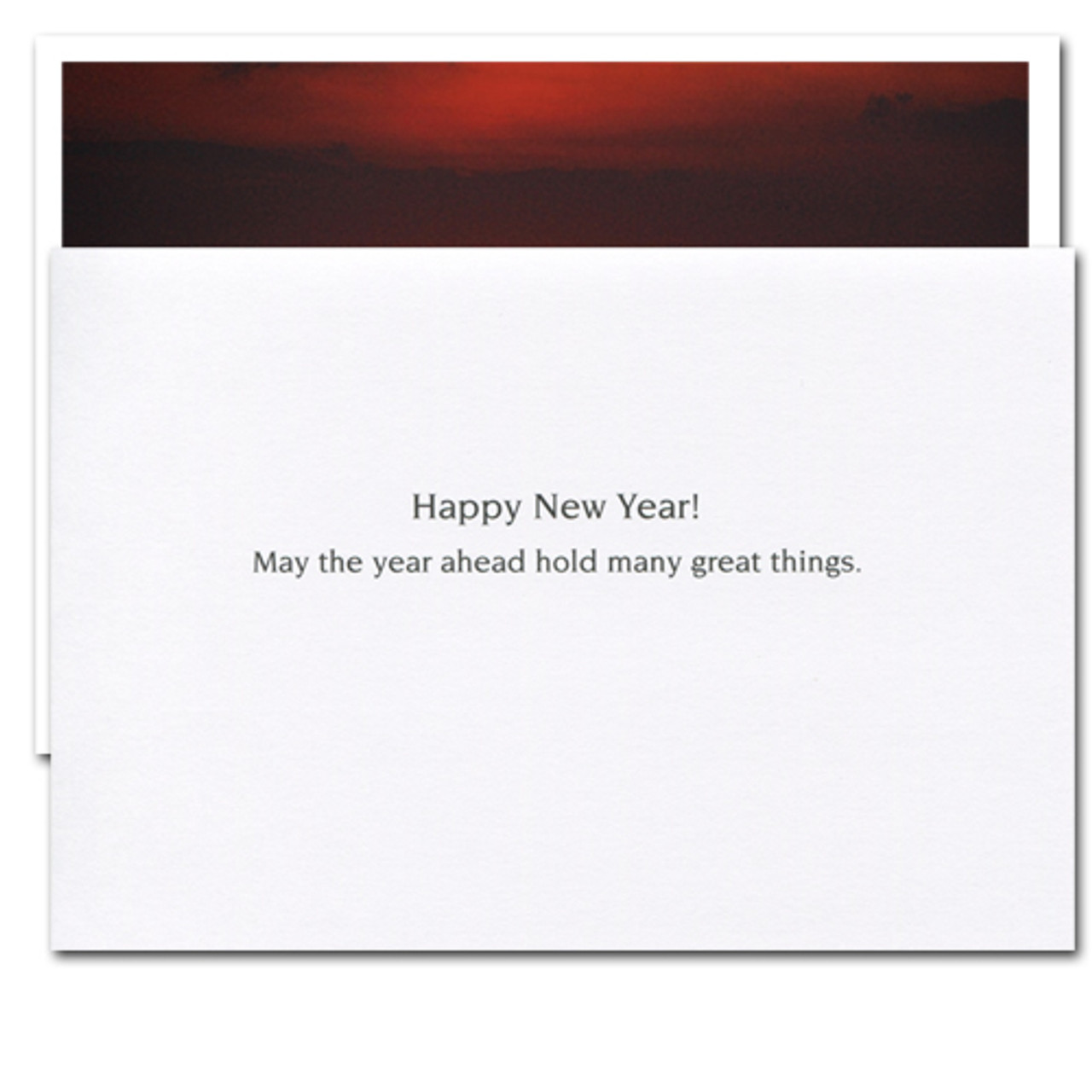 """Inside of Great Things New Year Card reads, """"Happy New Year! May the year ahead hold many great things"""""""