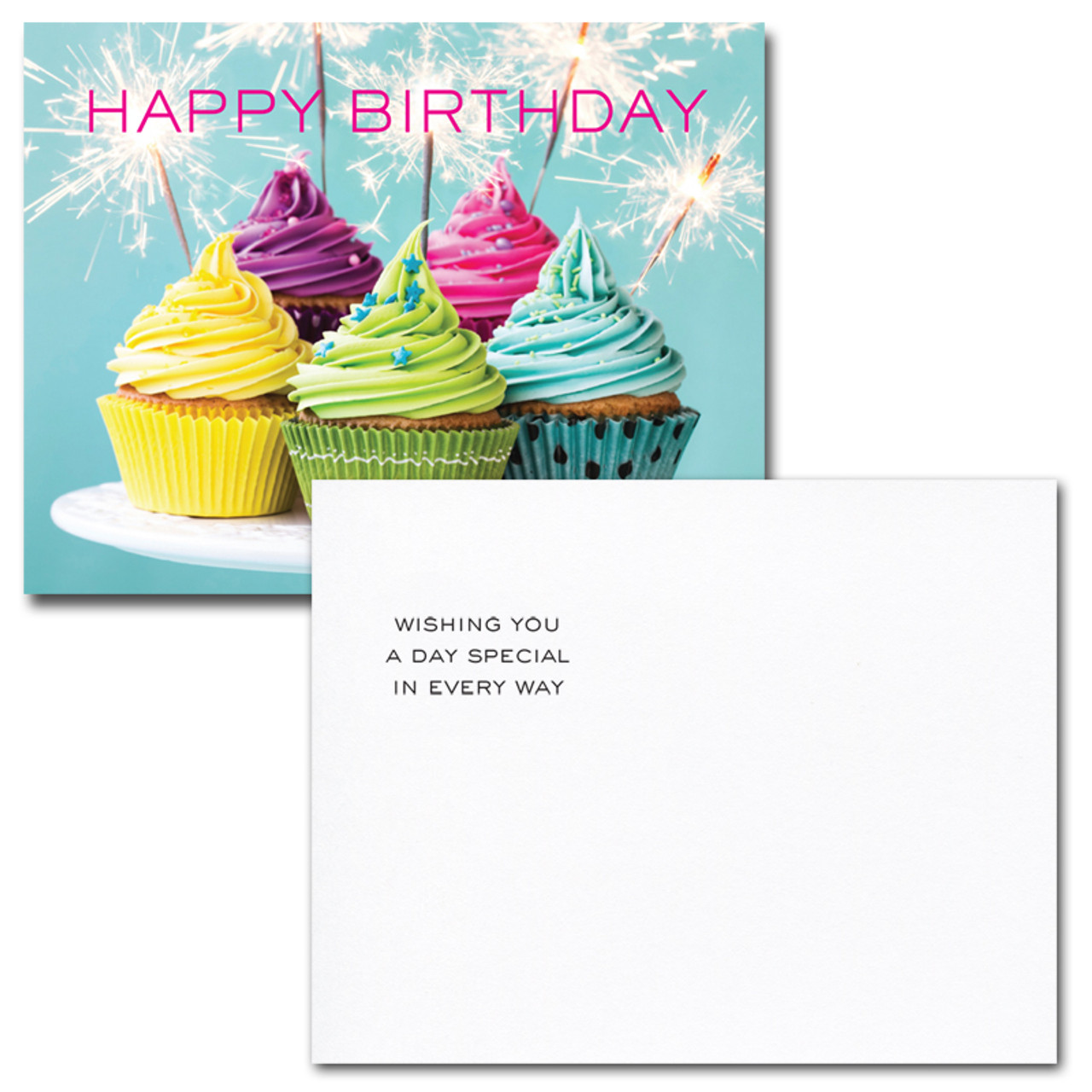 """Sparklers Birthday Postcard greeting reads """"Wishing you a day special in every way"""""""