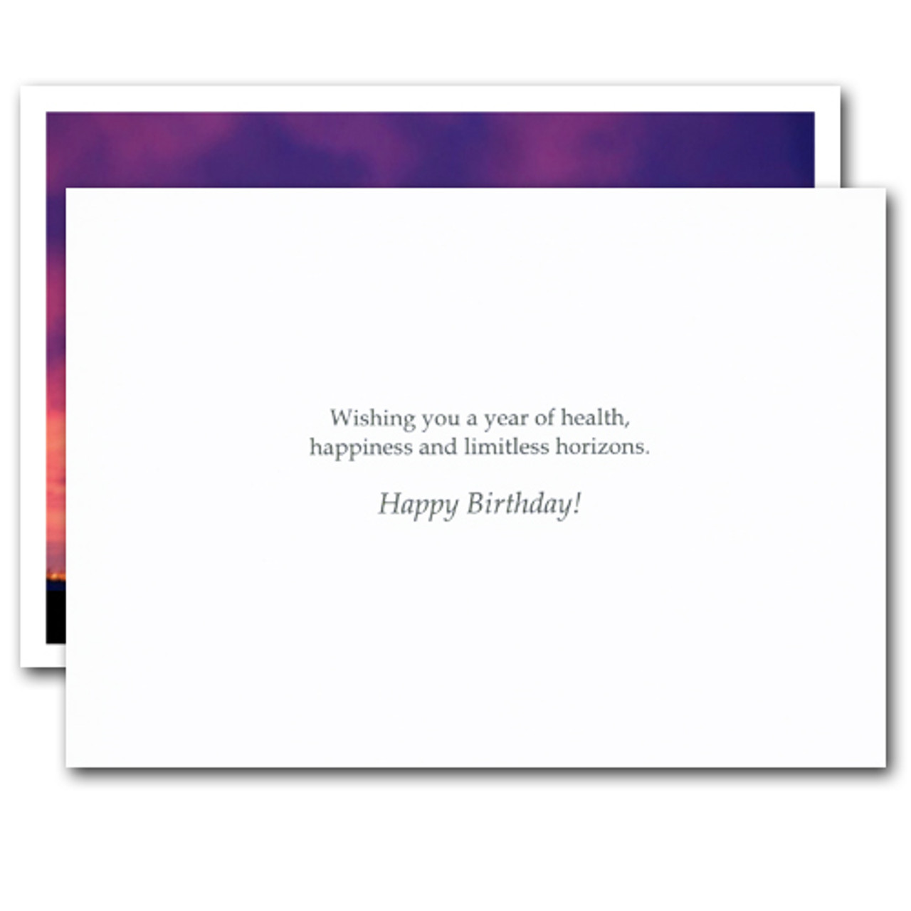 """Inside of Thomas Carlyle Quotation Business Birthday Card with the phrase 'wishing you a year of health, happiness and limitless horizons.  Happy Birthday!"""""""