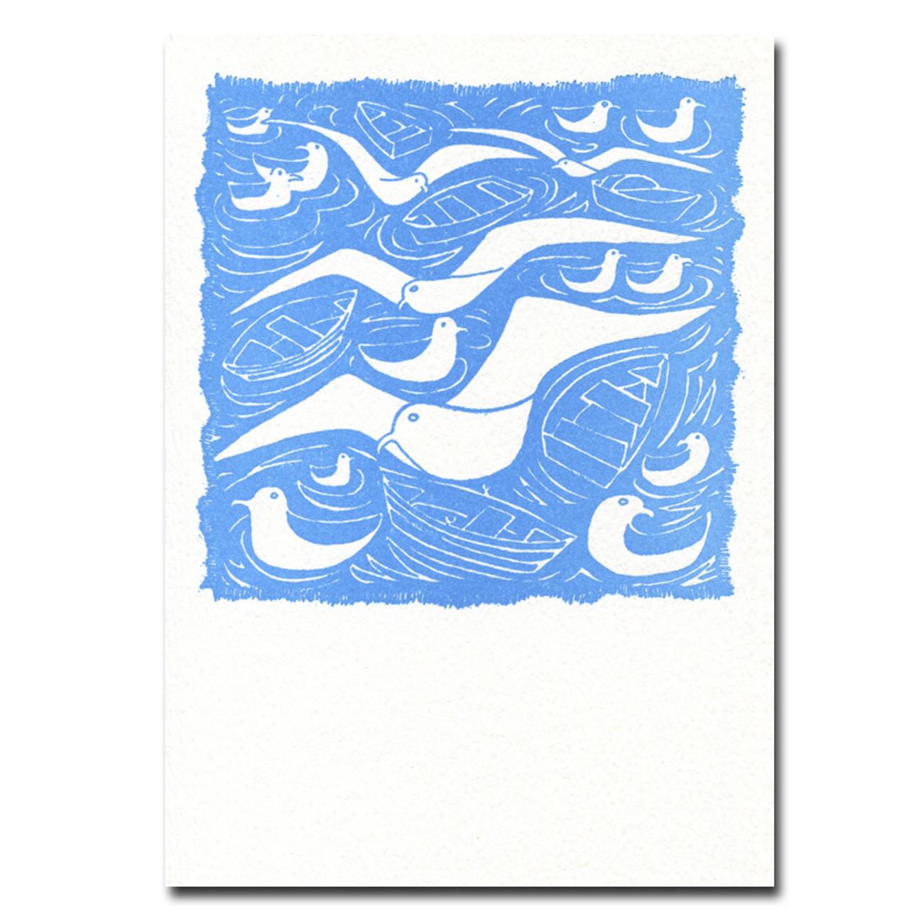 Saturn Press Letterpress Card, Gulls
