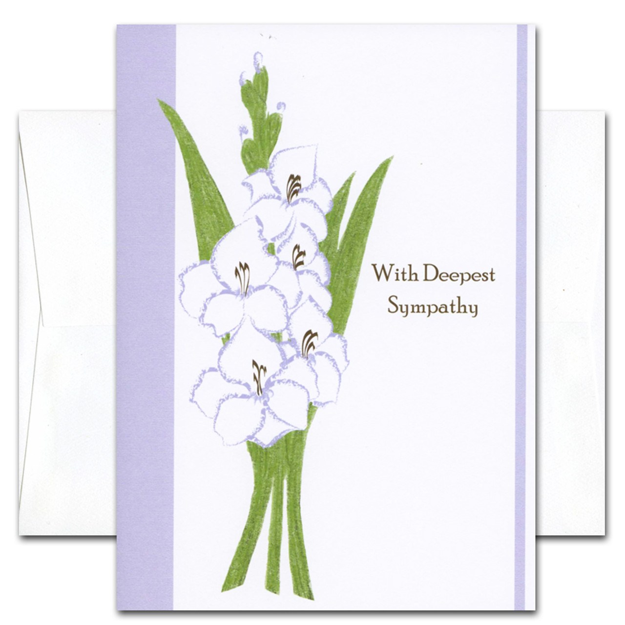 "Sympathy Card - Deepest cover has an illustration of gladiola and the words ""With Deepest Sympathy"""