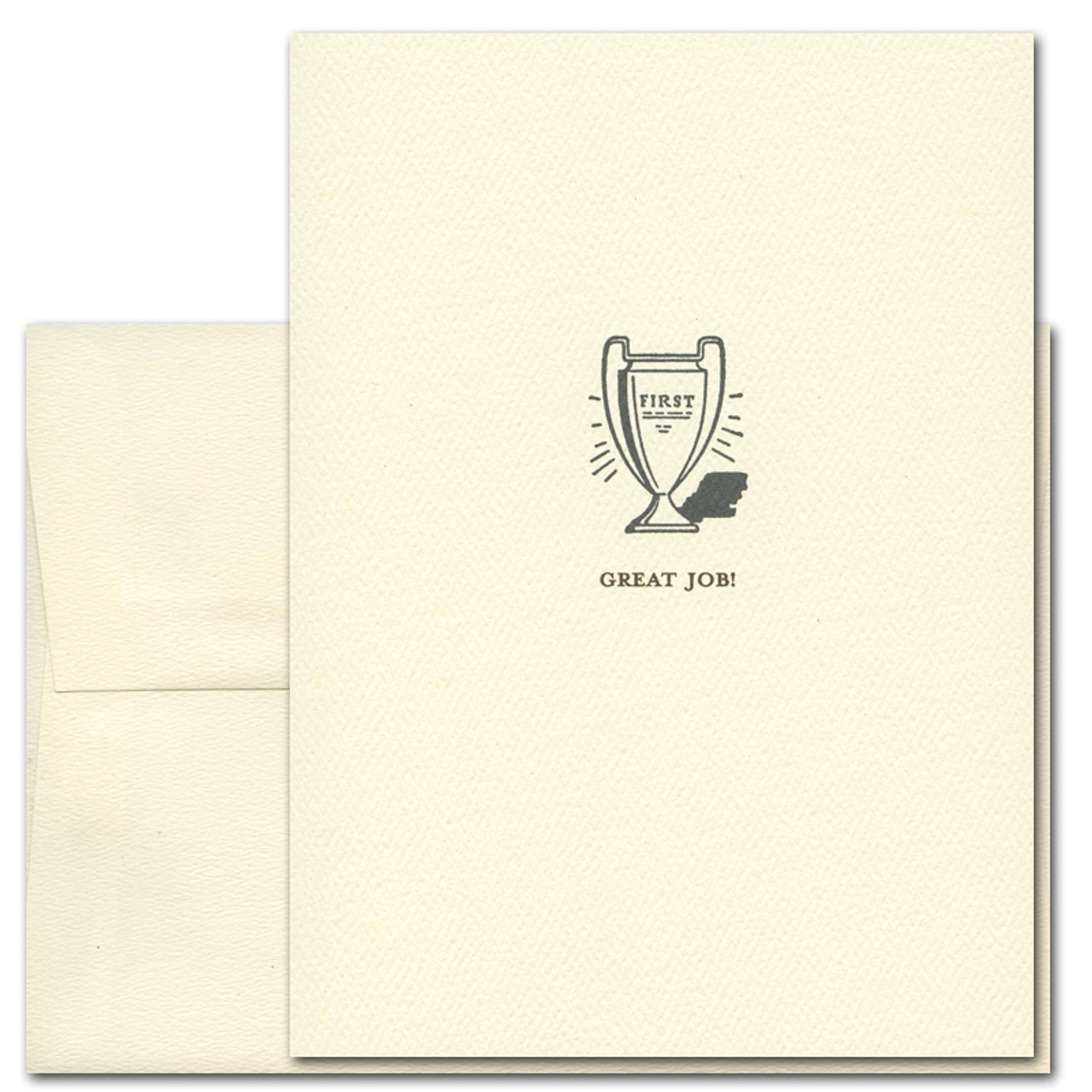 "Business Congratulations Card with vintage illustration of a trophy and the words ""Great Job"" in old fashioned typeface"