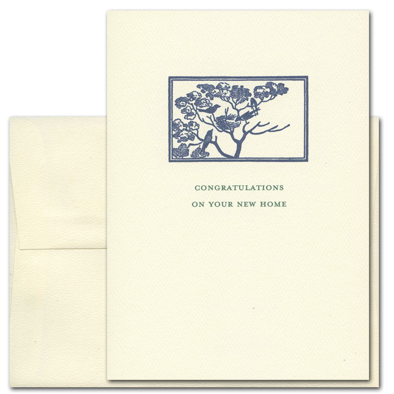 "Congratulations Card - New Home with Vintage Drawing of 2 birds with nest in tree. Quote is ""Congratulations On Your New Home"""