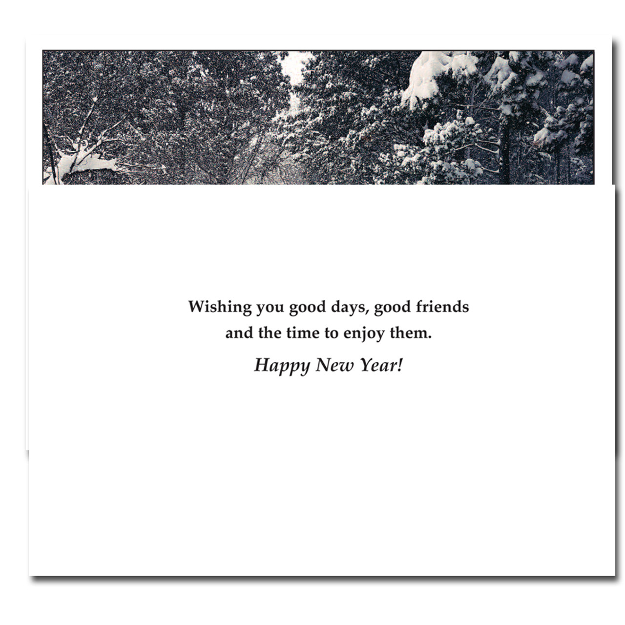 Good Friends New Year Card inside reads: Wishing you good days, good friends and the time to enjoy them. Happy New Year!