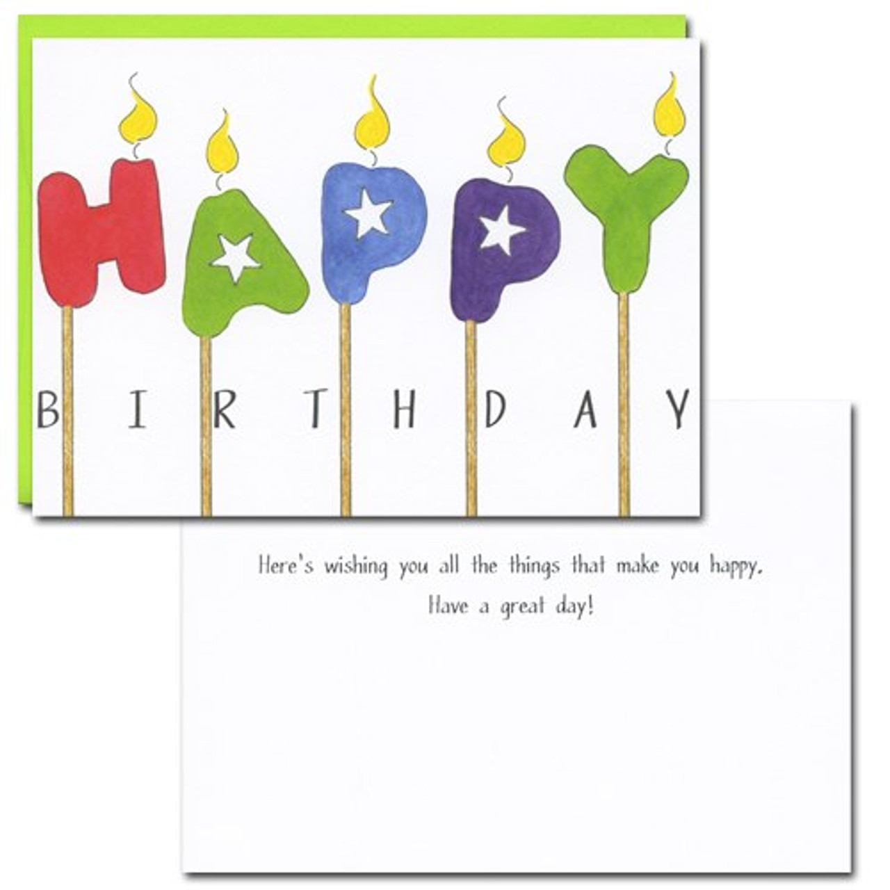 Happy Candles Birthday Card. Inside reads: Here's wishing you all the things that make you happy. Have a great day!