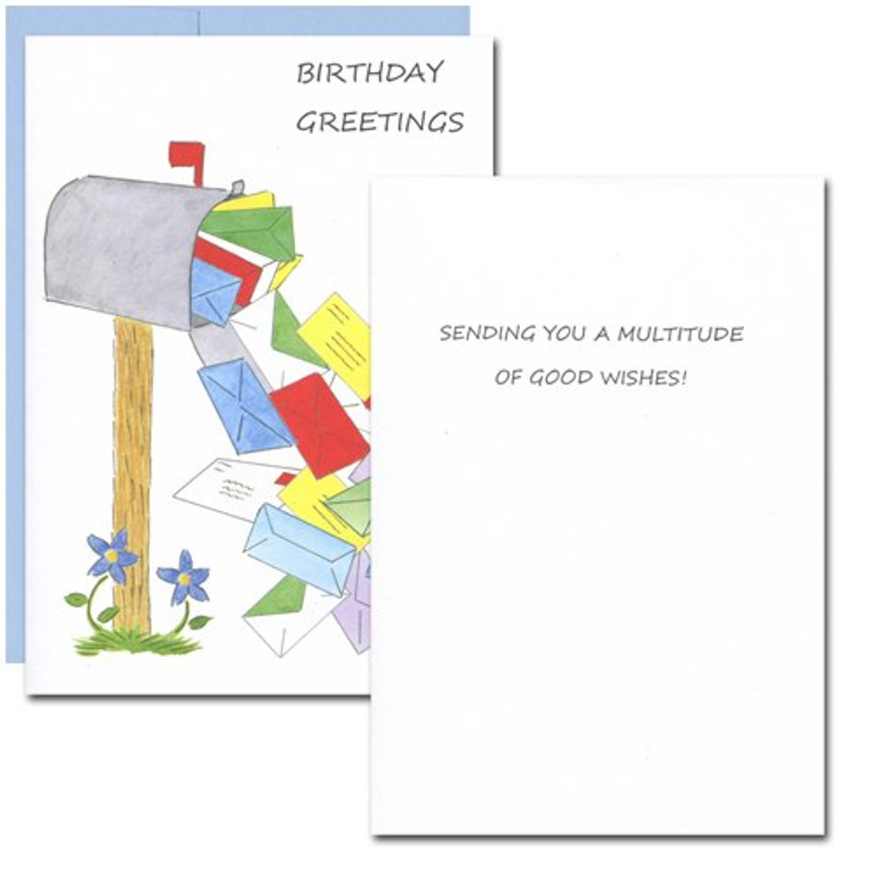 Mailbox Multitude Birthday Card. Inside reads: Sending you a multitude of good wishes