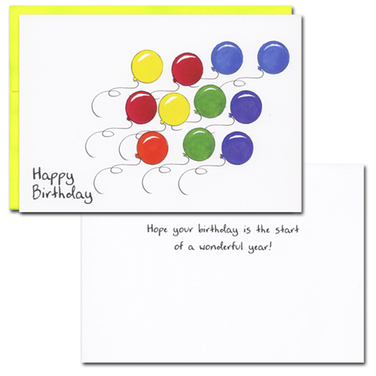 "Balloon Race Birthday Card with text ""Happy Birthday"" Inside reads: Hope your Birthday is the start of a wonderful year"