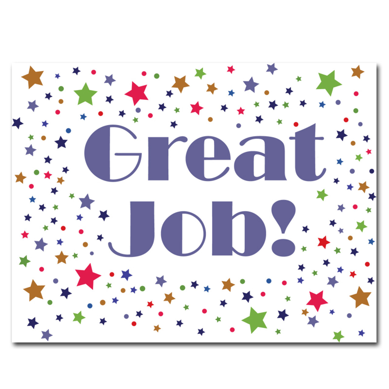 "Congratulations Postcard- Great Job! has many multi-colored stars on a white background and the words ""Great Job!"" in big blue letters"