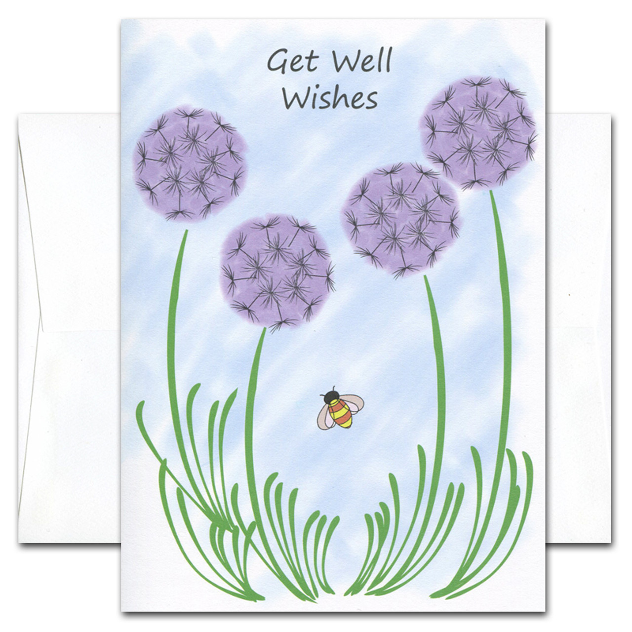 "Get Well Card - Wishes cover is an illustration of purple wild flowers on a blue background with a busy bee flying among them and the words ""Get Well Wishes"" near the top"