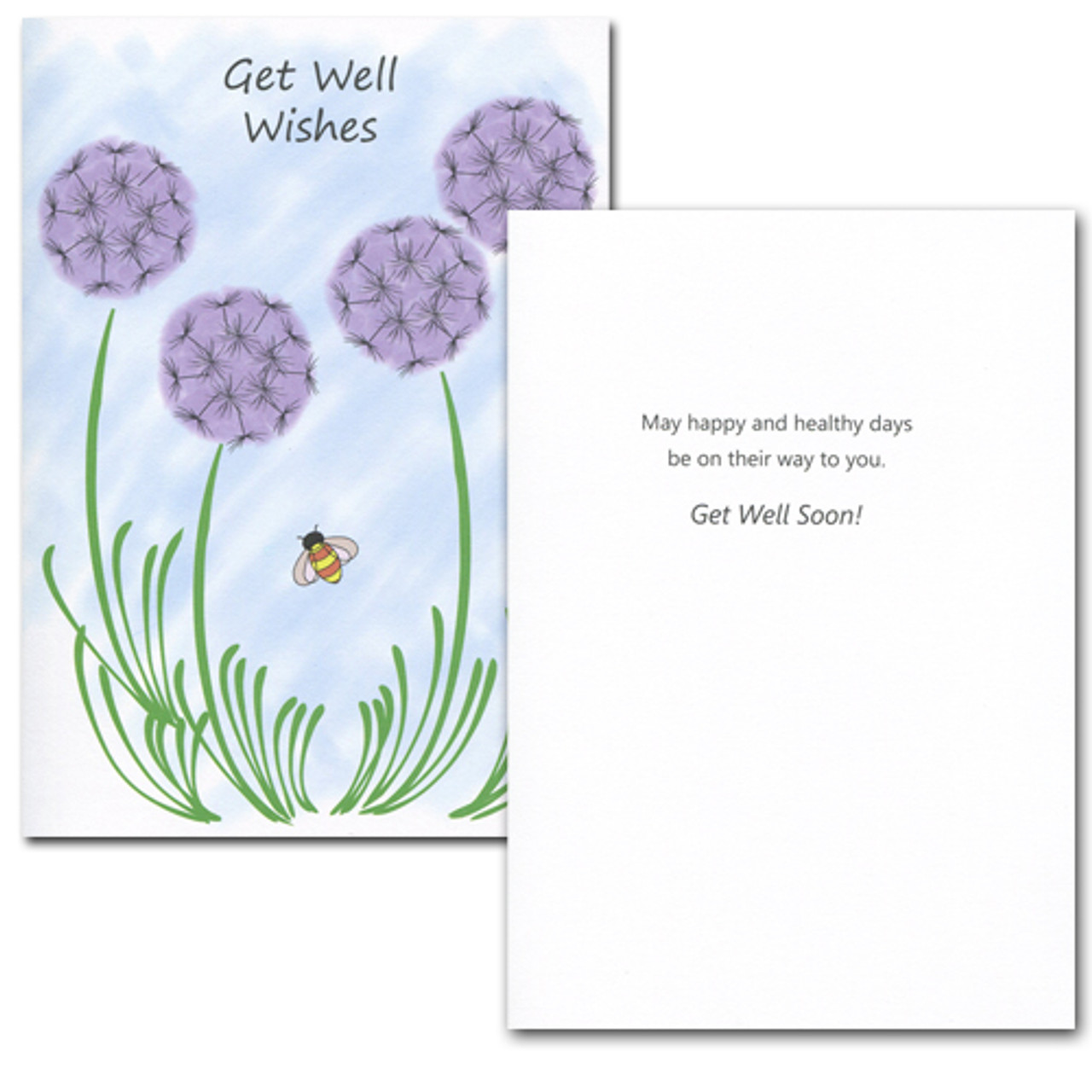"Get Well Card - Wishes inside has the works ""May happy and healthy days be on their way to you Get Well Soon"" and space to write a get well message from a medical professional, business associate or personal relationship"