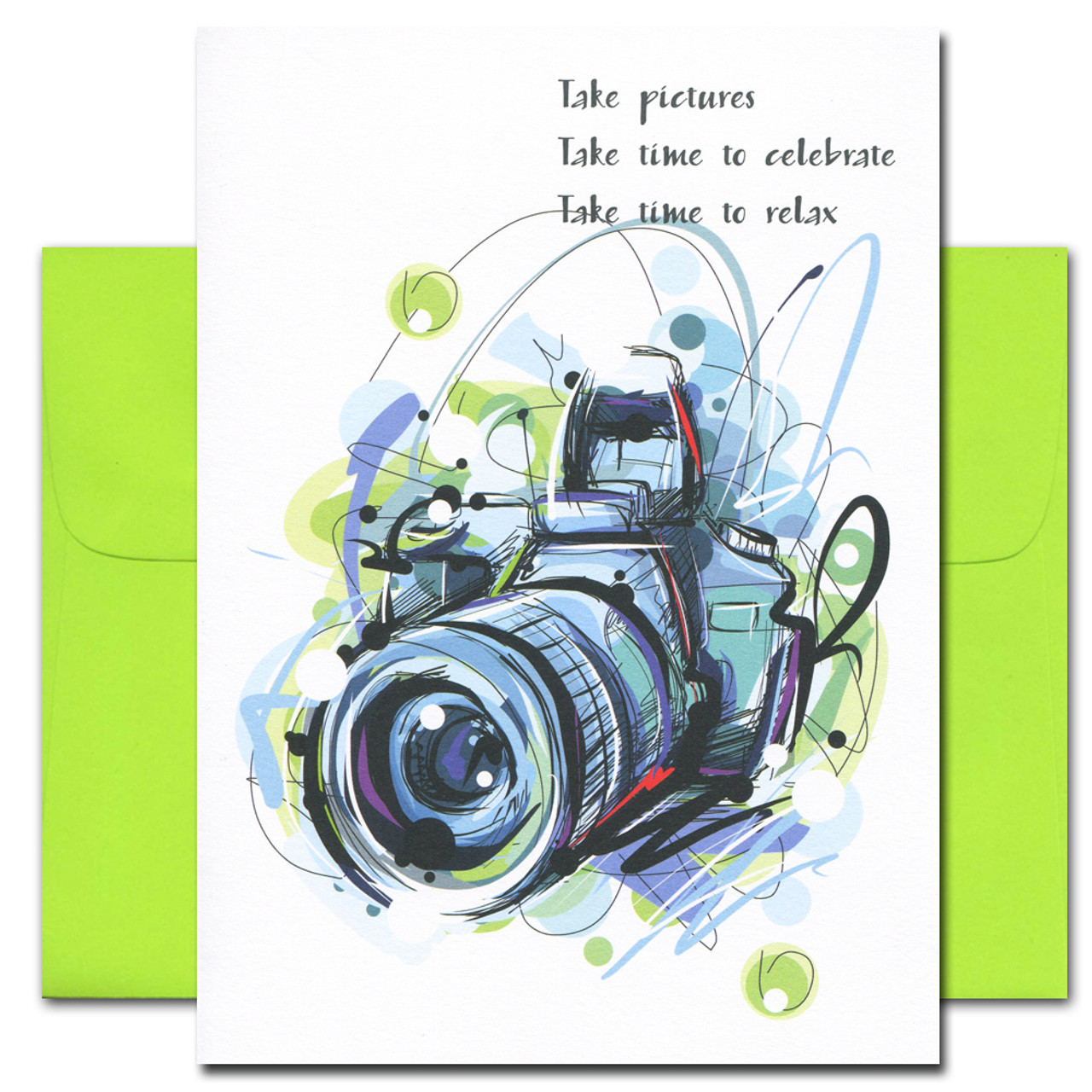 Take Pictures Congratulations card features an abstract illustration of a camera and the words: Take Pictures Take time to celebrate Take time to relax