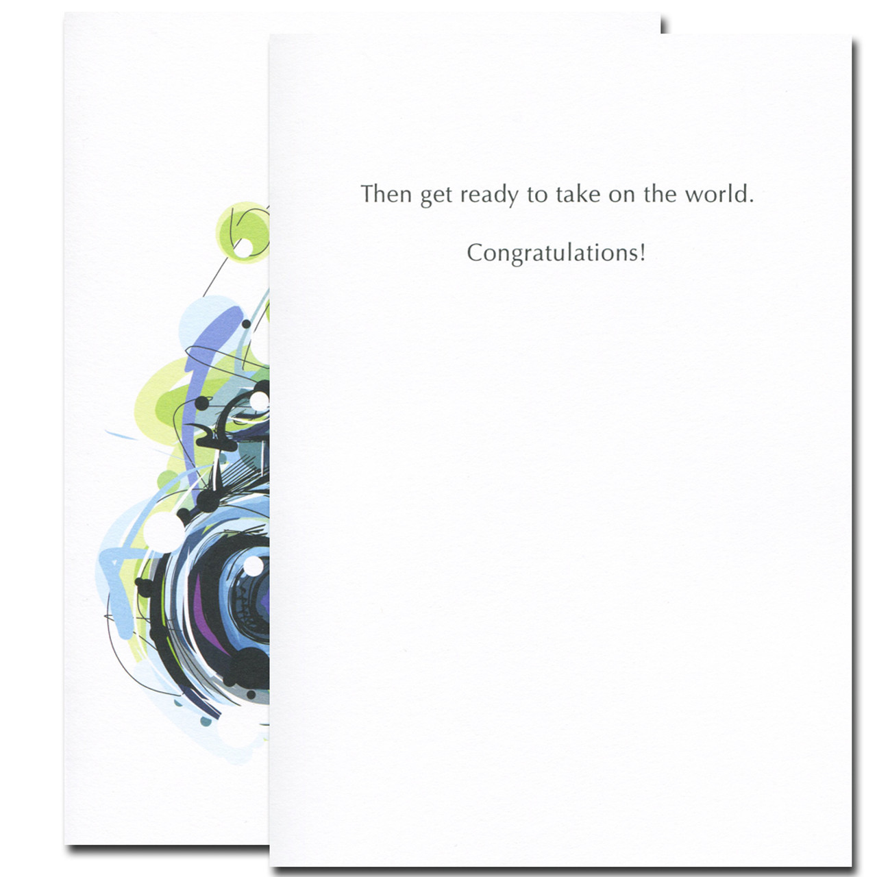 Take Pictures Congratulations card inside reads: Then get ready to take on the world. Congratulations!