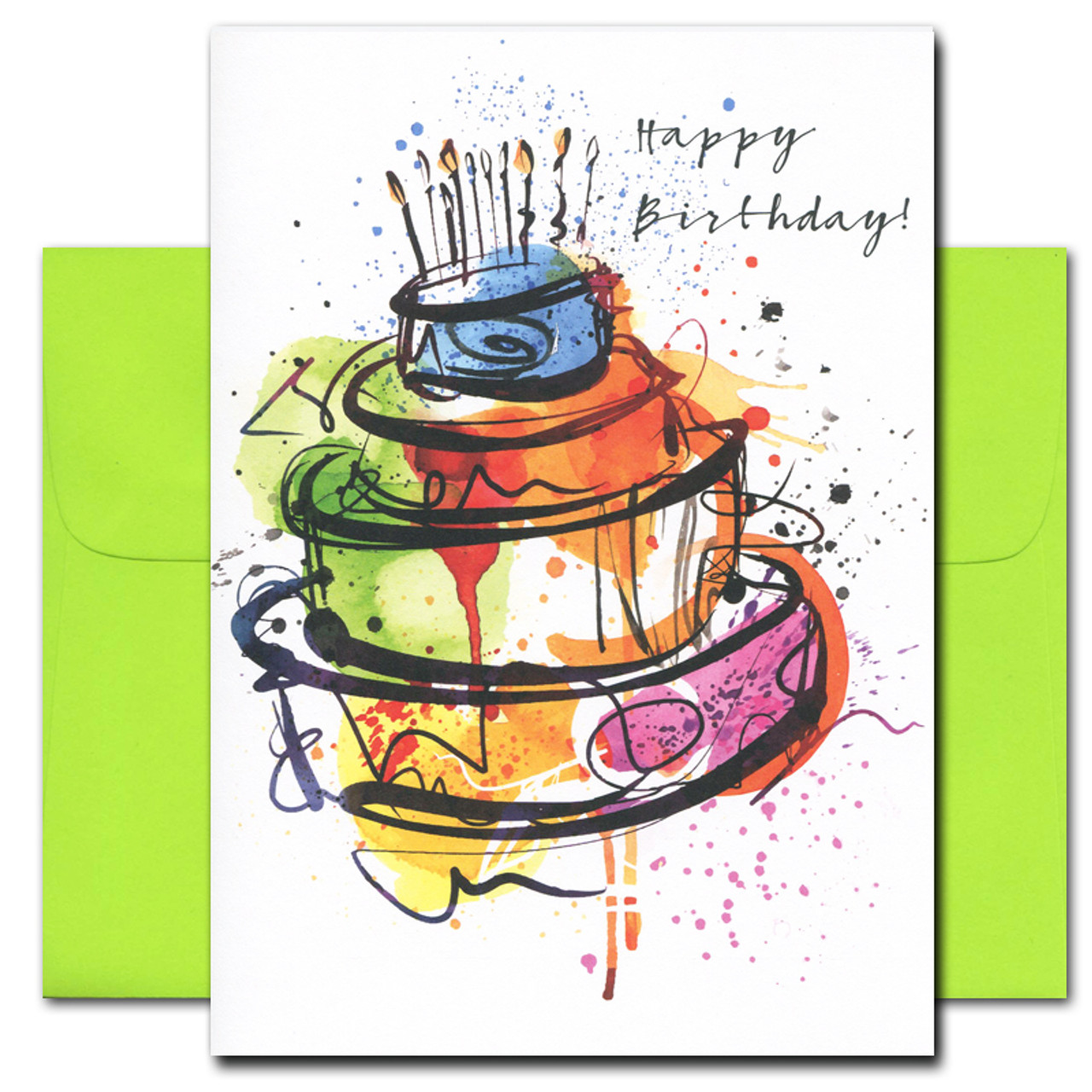 Birthday Card – Big Cake cover showing an abstract drawing of a 3 tiered birthday cake in in bright colors with the words Happy Birthday in informal script
