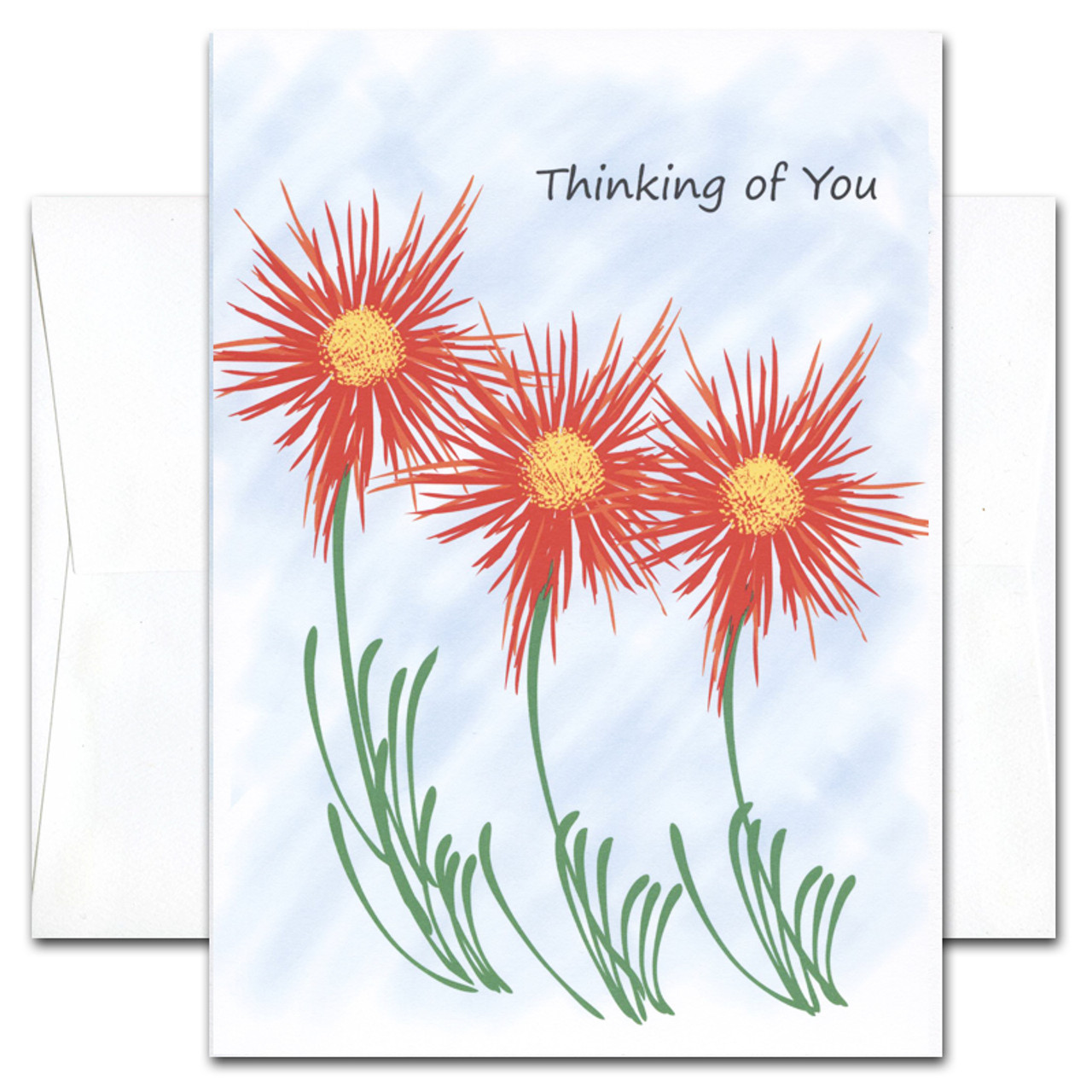 "Get Well Card -Thinking of You cover has a group of bright red and yellow wildflowers and the words ""Thinking of you"" on a blue background"