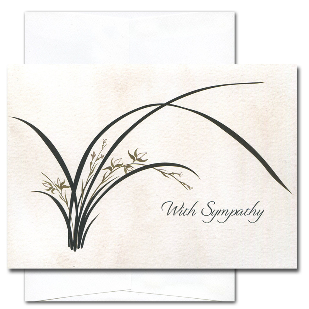 """Sympathy card - Wild Orchid cover with a contemporary illustration of a blooming wild orchid plant on a watercolor background and the words """"With sympathy"""""""