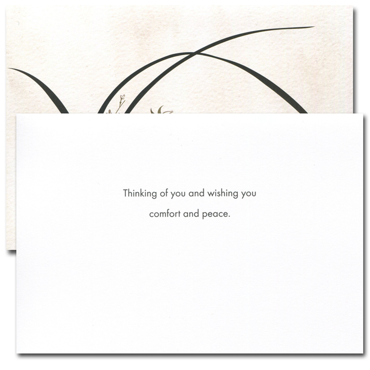 """Sympathy card - Wild Orchid inside has the words """"Thinking of you and wishing you comfort and peace"""" and space to write a sympathy message"""