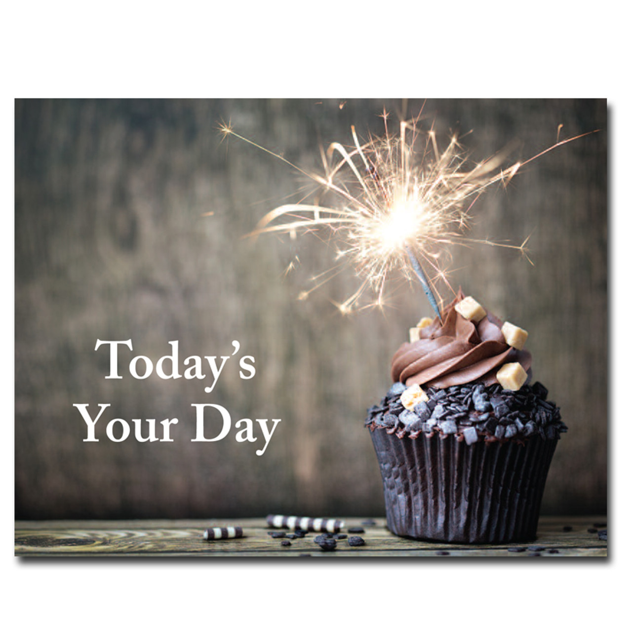 Chocolate Cupcake Birthday Postcard pictures a dark chocolate cupcake topped with a sparkler. Greeting reads, Today's Your Day
