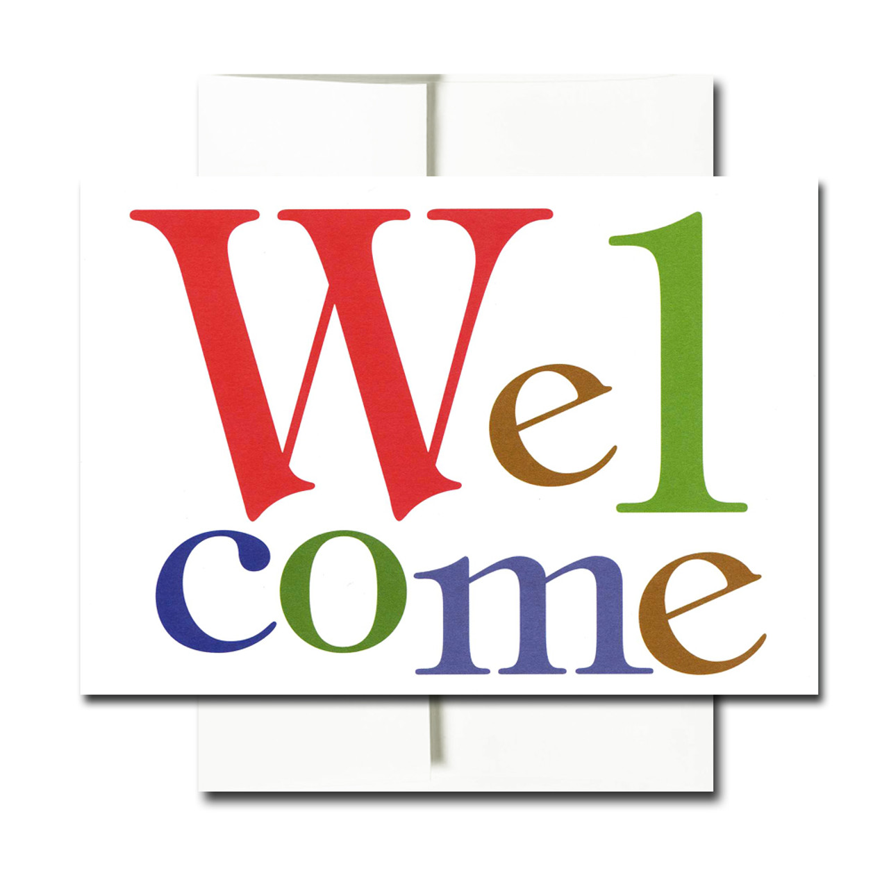 "Welcome Letters Welcome Note Card has the word ""Welcome"" set in bold, colorful letters"