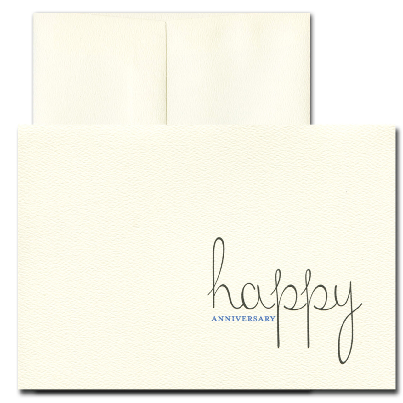 Cover of Anniversary card has Happy Anniversary in black and dark blue ink
