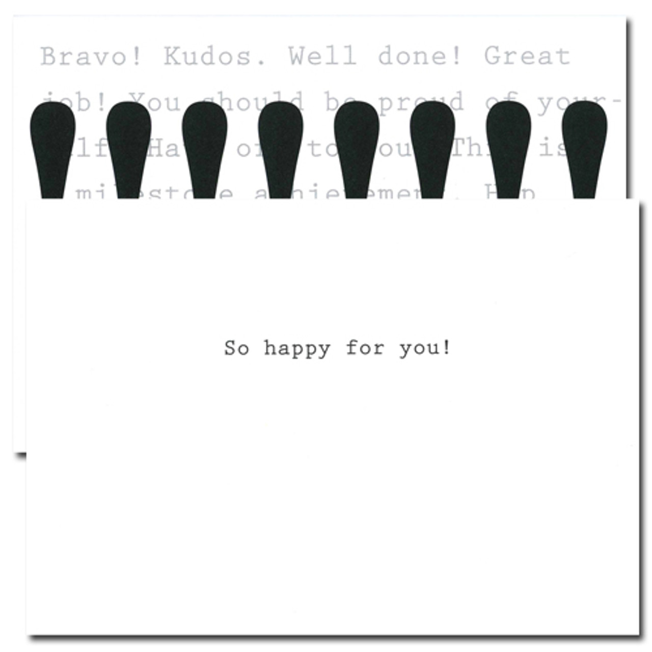 "Inside of Business Congratulations Cards Exclamation has the words ""So happy for you"" in simple black text"