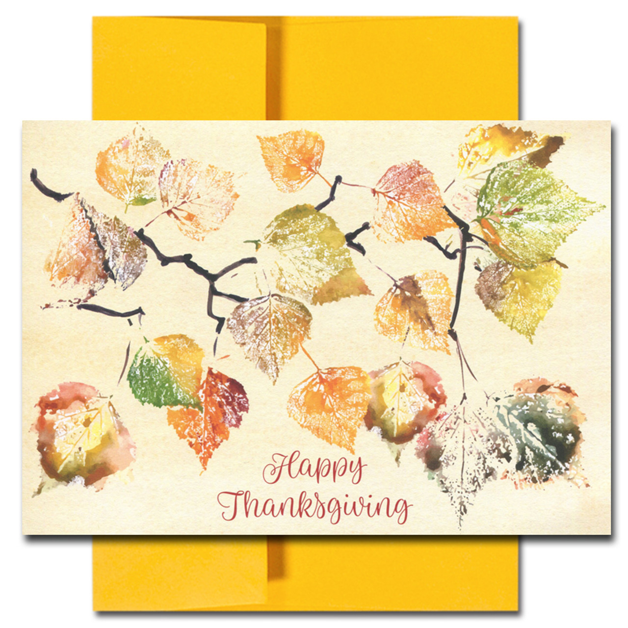 Thanksgiving Card - Painted Leaves has hand painted watercolor leaves in different colors above the words Happy Thanksgiving