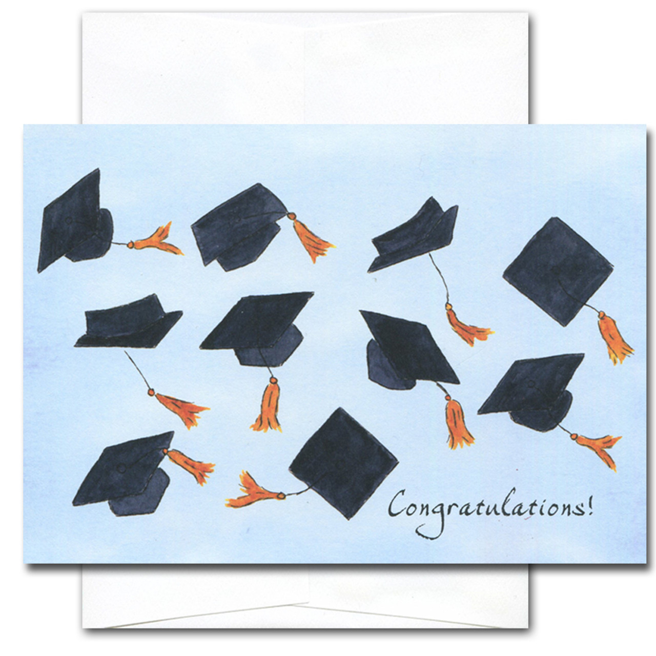 "Graduation Congratulations Card - Airborne cover has illustrations of mortarboard caps flying in the air with the word ""congratulations!"" in the lower right hand corner"