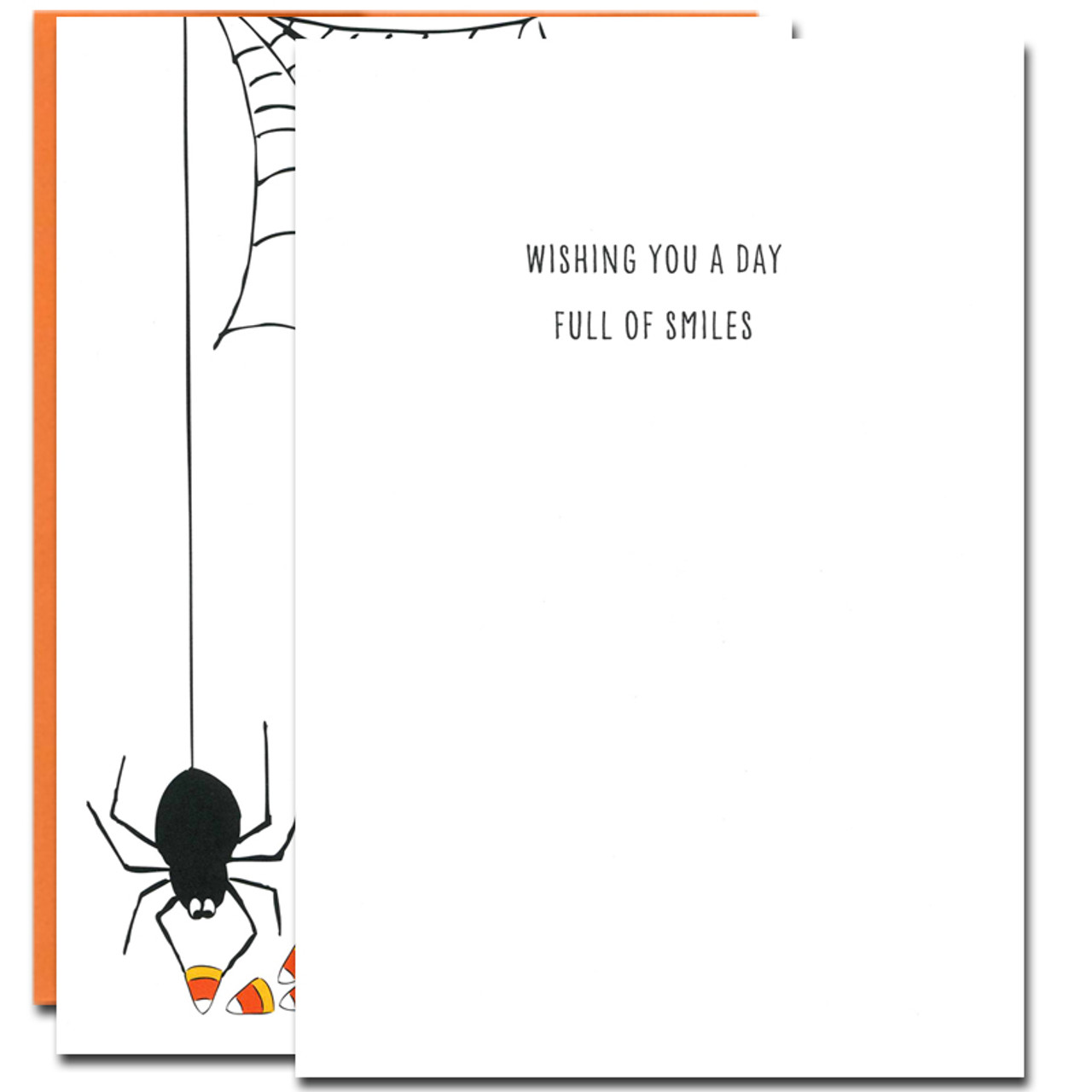 Inside of Candy Thief Halloween Card. Greeting reads, Wishing you a day full of smiles