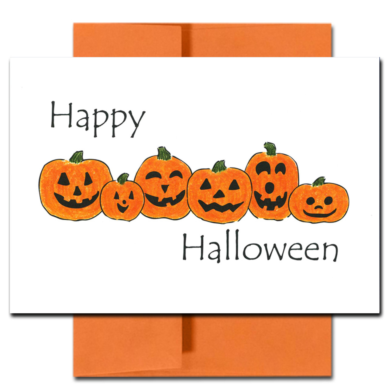 Cover of Pumpkin Patch Halloween Card shows a line up of happy-faced jack-o-lanterns