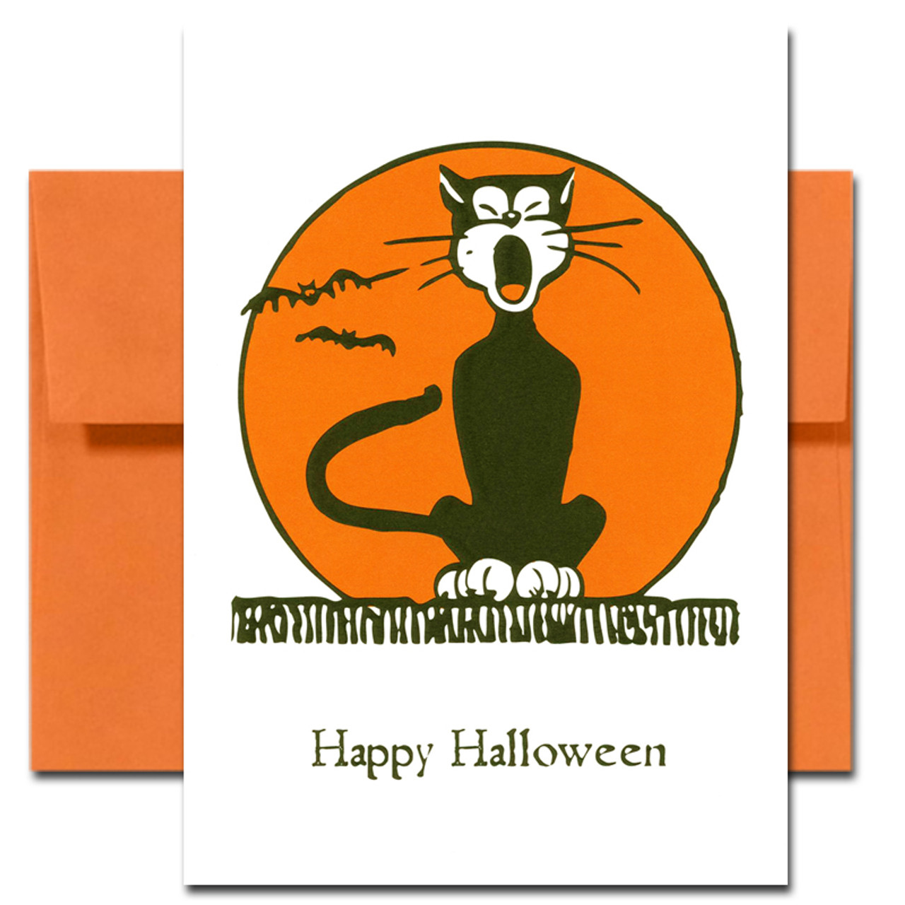 Cover of Halloween Card - Serenade showing a yowling black cat sitting on a fence with an orange moon in the background. (Inside of card is blank)