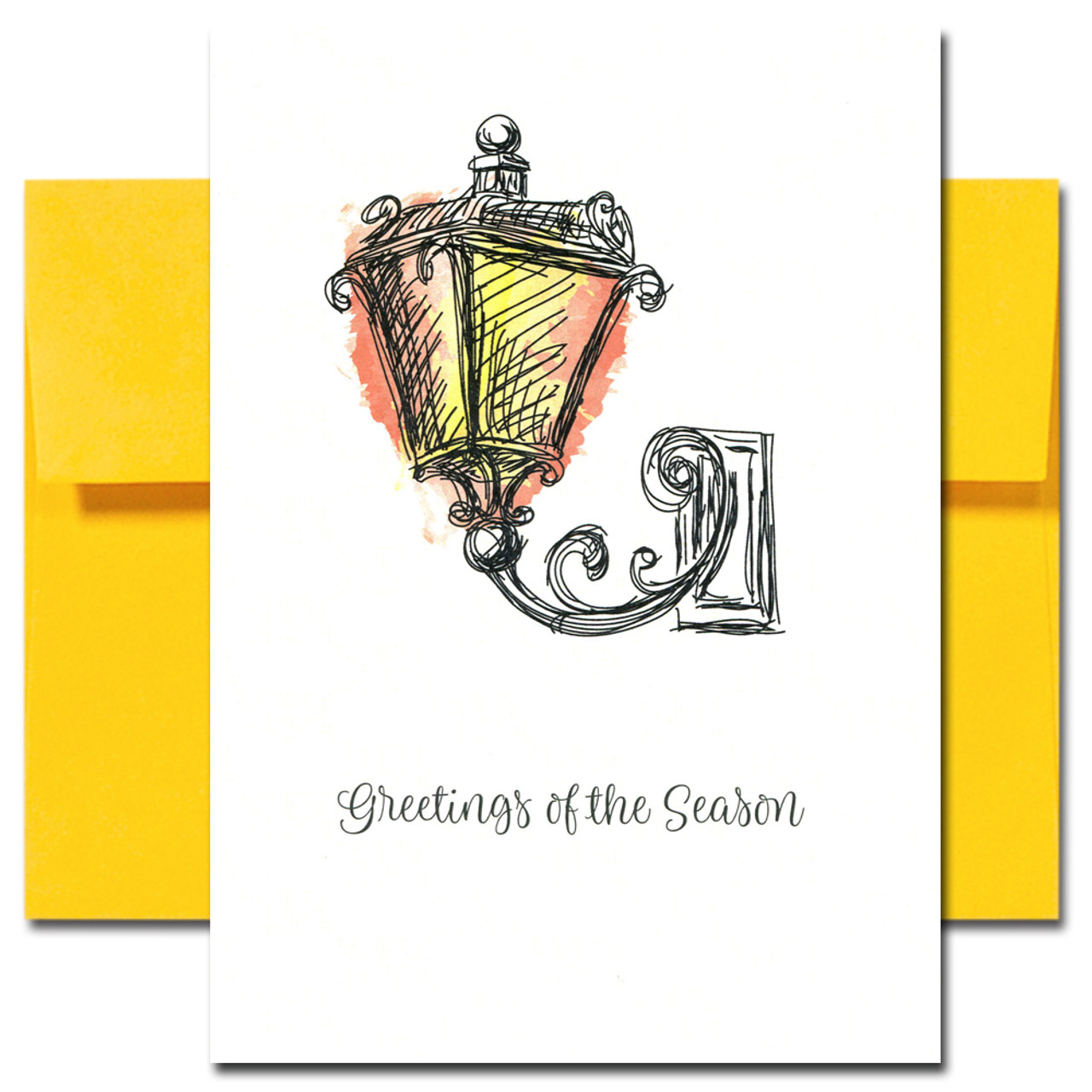 Lamplight Holiday Card has a hand-drawn illustration of a vintage lamp and the words Greetings of the Season