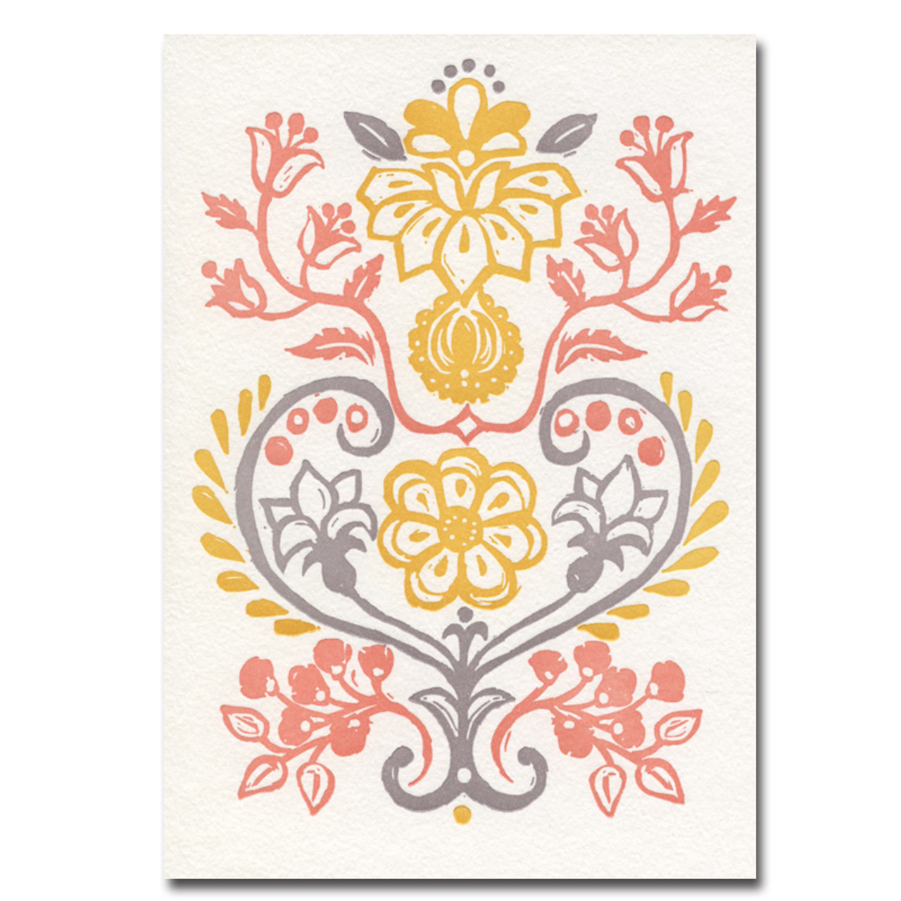 Saturn Press letterpress Flowers and Vine card. Cover shows white and rose flowers intertwined with gray vine