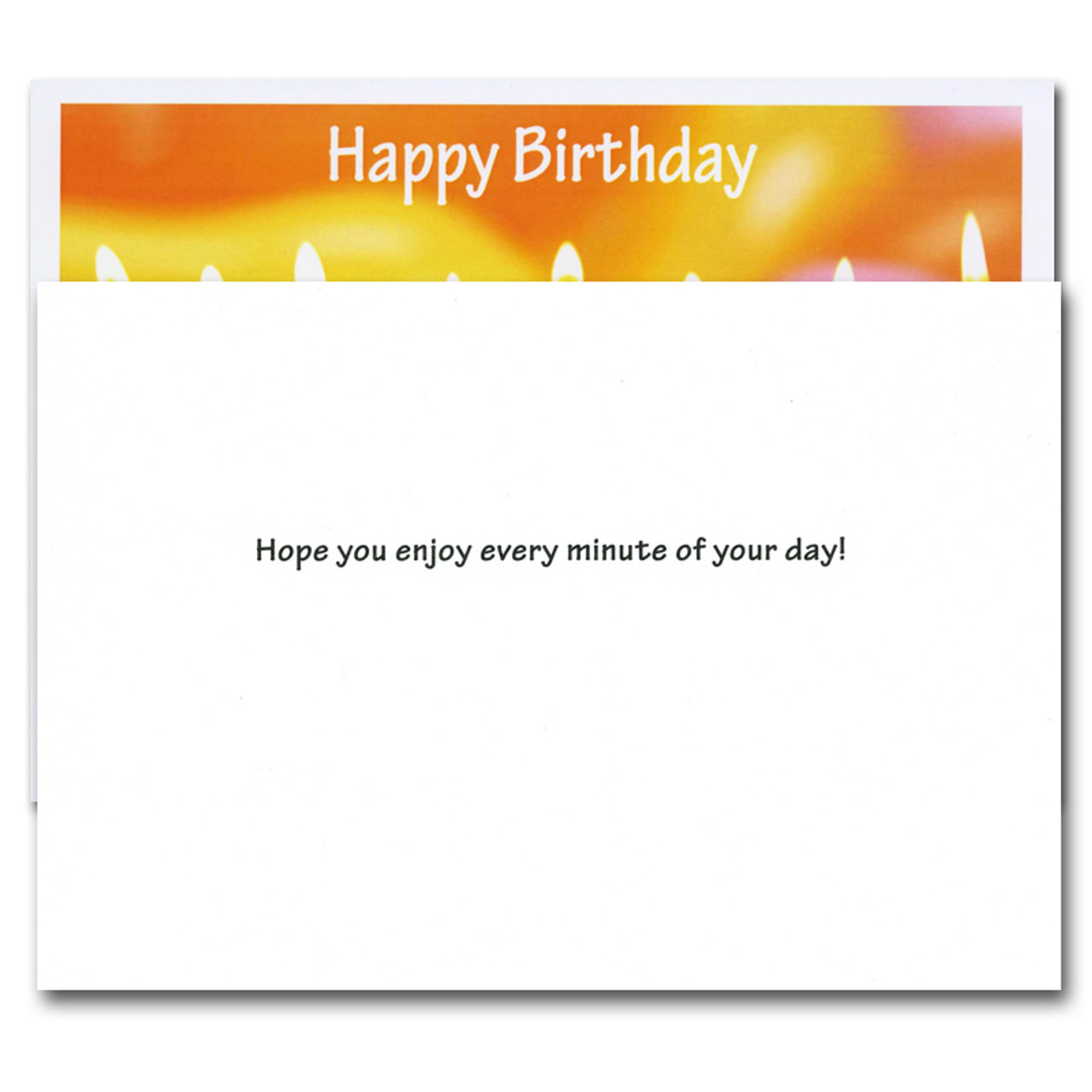 """Inside of business birthday card - Line Up. Greeting reads """"Hope you enjoy every minute of your day!"""""""