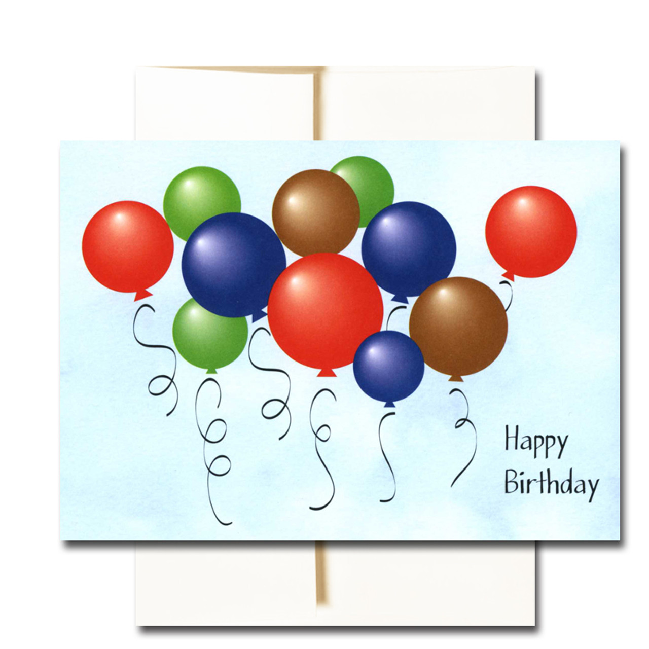 "Boxed Business Birthday Note Card - Balloon Bunch Cover with the words ""Happy Birthday"" and multi-colored balloons against a blue sky background"