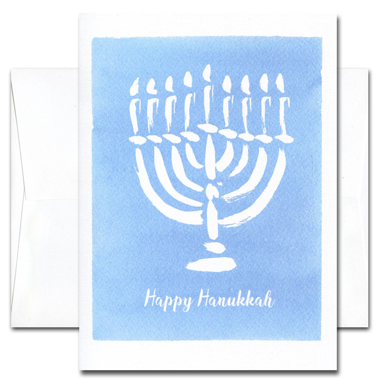 Hanukkah Card - Happy Time. Cover shows a brushstroke design menorah against a hand-painted blue watercolor background and the words Happy Hanukkah